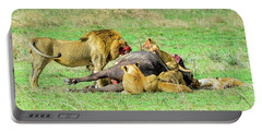 Lion Pride With Cape Buffalo Portable Battery Charger