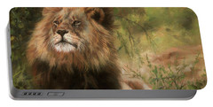 Lion Resting Portable Battery Charger by David Stribbling
