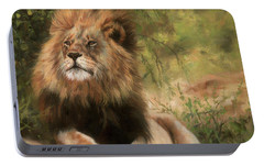 Portable Battery Charger featuring the painting Lion Resting by David Stribbling