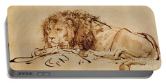 Lion Resting Portable Battery Charger