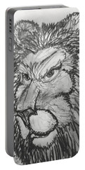 Lion Sketch  Portable Battery Charger by Yshua The Painter