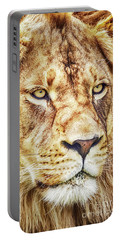 Portable Battery Charger featuring the photograph Lion-the King Of The Jungle Large Canvas Art, Canvas Print, Large Art, Large Wall Decor, Home Decor by David Millenheft