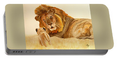 Lion Watercolor Portable Battery Charger