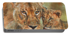 Lioness And Cub Portable Battery Charger by David Stribbling