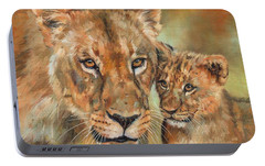 Portable Battery Charger featuring the painting Lioness And Cub by David Stribbling