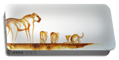 Lioness And Cubs Small - Original Artwork Portable Battery Charger