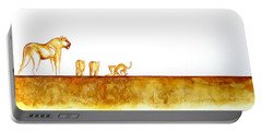 Lioness And Cubs - Original Artwork Portable Battery Charger