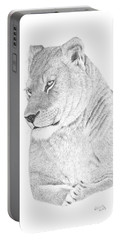 Lioness Portable Battery Charger by Patricia Hiltz