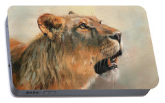 Portable Battery Charger featuring the painting Lioness Portrait 2 by David Stribbling