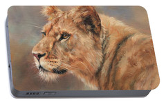 Portable Battery Charger featuring the painting Lioness Portrait by David Stribbling