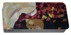 Portable Battery Charger featuring the painting Lioness' Pride 3 Of 6 by Donald J Ryker III
