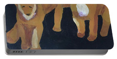 Portable Battery Charger featuring the painting Lioness' Pride 5 Of 6 by Donald J Ryker III