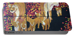 Portable Battery Charger featuring the painting Lioness Pride by Donald J Ryker III