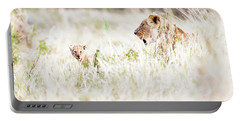 Lioness With Baby Cub In Grasslands Portable Battery Charger