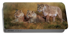 Lionesses Watching The Herd Portable Battery Charger by Brian Tarr