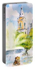 Lions Fountain Plaza Las Delicias  Ponce Cathedral Puerto Rico Portable Battery Charger