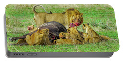 Lions With Cape Buffalo Kill Portable Battery Charger
