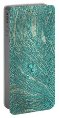 Liquid Aqua Silver Abstract Portable Battery Charger