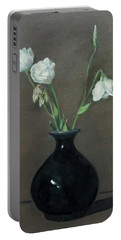 Lisianthus In Black Vase Portable Battery Charger