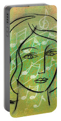 Portable Battery Charger featuring the painting Listening To Music by Leon Zernitsky