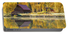 Little Barn By The Lake Portable Battery Charger by Teri Virbickis