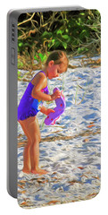 Little Beach Girl With Flip Flops Portable Battery Charger