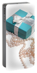 Little Blue Gift Box And Pearls Portable Battery Charger