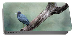 Little Blue Heron On Green Portable Battery Charger