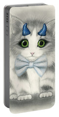 Portable Battery Charger featuring the drawing Little Blue Horns - Devil Kitten by Carrie Hawks