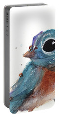 Portable Battery Charger featuring the painting Little Bluebird by Dawn Derman