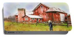 Little Boy On The Farm Portable Battery Charger by Mary Timman