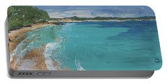 Portable Battery Charger featuring the painting Little Cove View by Chris Hobel