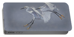 Little Egrets In Flight Portable Battery Charger