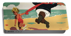 Little Girl And Old Man Playing On The Beach In Skegness, Lincolnshire - Vintage Advertising Poster Portable Battery Charger
