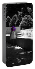 Little Girl In Magenta Hat Black And White Selective Color Portable Battery Charger