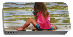 Little Girl In The Sand Portable Battery Charger
