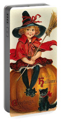 Little Girl Witch Sitting On A Big Pumpkin Portable Battery Charger