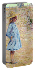 Little Girl With Blue Dress Portable Battery Charger