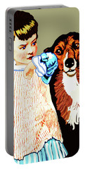 Portable Battery Charger featuring the painting Little Girl With Hungry Mutt by Marian Cates