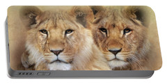 Portable Battery Charger featuring the digital art Little Lions by Trudi Simmonds