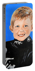 Portable Battery Charger featuring the painting Little Mister G by Betty-Anne McDonald