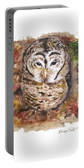 Portable Battery Charger featuring the painting Little Owl by Monique Faella