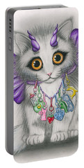 Portable Battery Charger featuring the mixed media Little Purple Horns - 1980s Cute Devil Kitten by Carrie Hawks