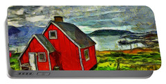 Little Red House In Greenland Portable Battery Charger