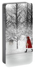 Portable Battery Charger featuring the digital art Little Red by Nancy Levan