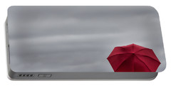 Little Red Umbrella In A Big Universe Portable Battery Charger by Don Schwartz