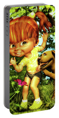 Little Redhead And Her Dog Portable Battery Charger