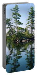 Portable Battery Charger featuring the photograph Little Rocky Pine Tree Island On Parker Pond by Joy Nichols