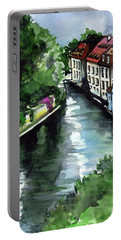 Portable Battery Charger featuring the painting Little Venice In Prague Certovka Canal by Dora Hathazi Mendes