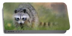 Little Wash Bear Raccoon Art Portable Battery Charger by Jai Johnson